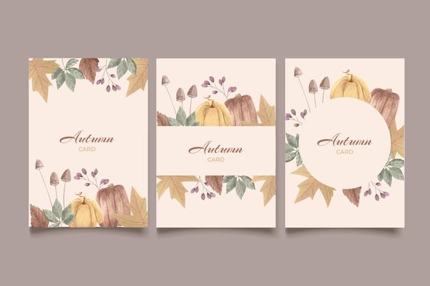 Коллекция акварельных осенних открыток