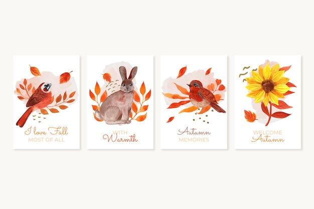 Collezione di carte autunnali ad acquerello