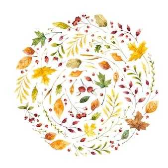 Акварель осенняя круглая рамка с осенними листьями, цветами и ягодами ботаническая круглая композиция