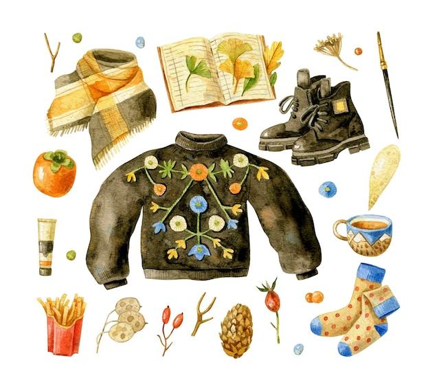 水彩の秋の服と必需品