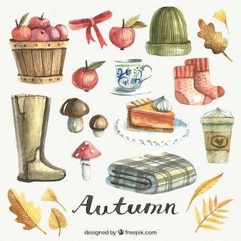 Collezione autunno acquerello