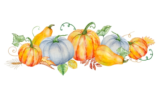 Watercolor autumn composition with bright orange and blue pumpkins and with green and autumn leaves