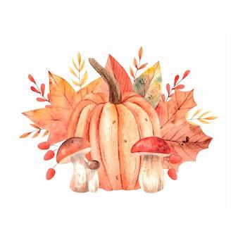 Акварельная осенняя композиция с грибными тыквами и осенними листьями