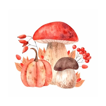 Watercolor autumn composition with mushroom pumpkins and autumn leaves