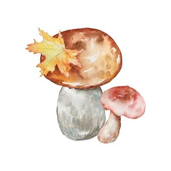 Акварельная осенняя композиция с грибами и осенними желтыми листьями. иллюстрация для приглашений, типографики, печати и других дизайнов.