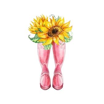 ピンクのゴム長靴とひまわりの花束と水彩画の秋の構成。招待状、タイポグラフィ、印刷物、その他のデザインのイラスト。