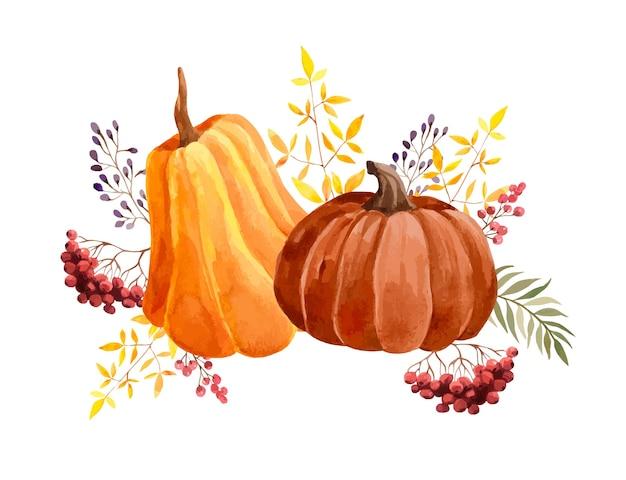 호박, 열매, 잎 수채화가 구성 프리미엄 벡터