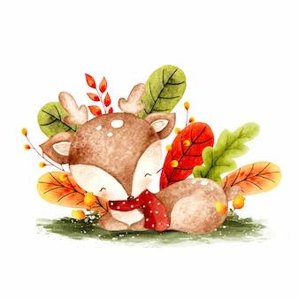 Акварель осенний олень и листья