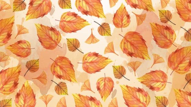 Акварель осенние сухие листья фон