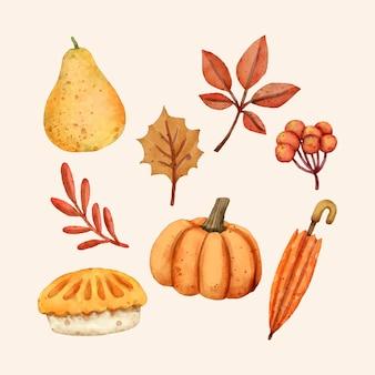 水彩秋の要素コレクション