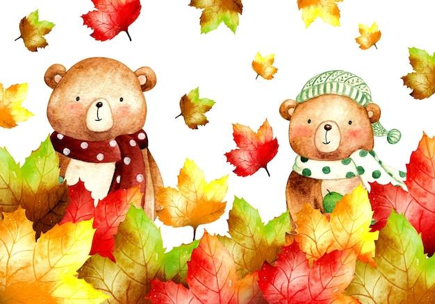 クマの背景バナーと水彩の秋の紅葉
