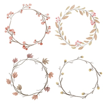 Watercolor autumn flower leafs wreath frame