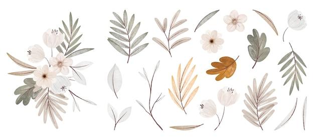 Коллекция акварельных осенних цветов и листьев с букетом