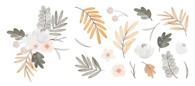부케와 수채화 가을 꽃과 잎 컬렉션