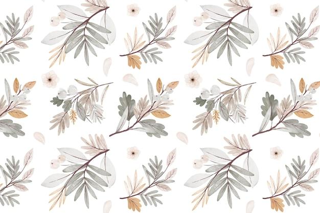Watercolor autumn forest bouquet pattern
