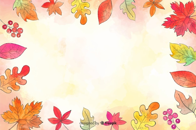 Watercolor autumn forest leaves background
