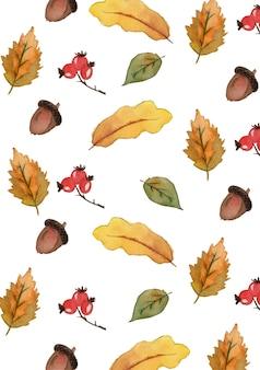 水彩の秋の森のパターン。手描きのナナカマド、紅葉、コーン、ベリー、ドングリを白い背景で隔離。