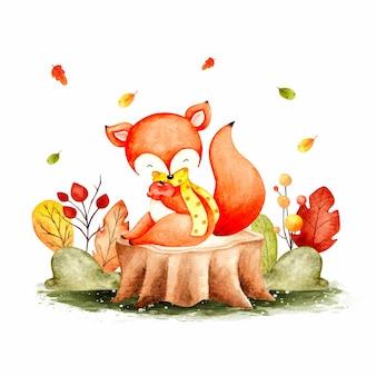 水彩の秋のキツネと葉