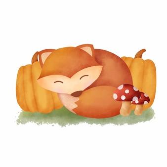 Watercolor autumn fox card
