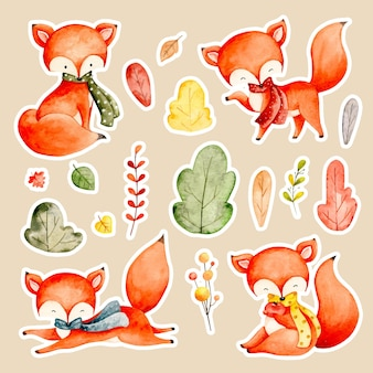 Watercolor autumn fox and leaves sticker