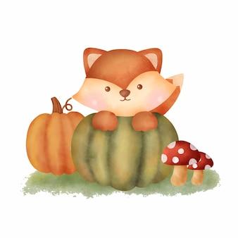 Watercolor autumn fox and pumpkin