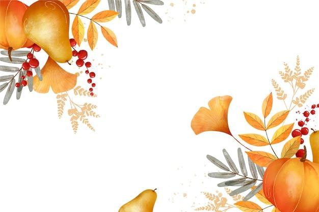 Watercolor autumn harvest background