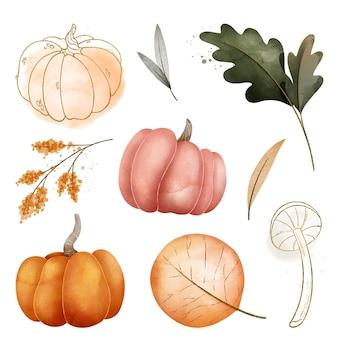 水彩の秋の収穫コレクション