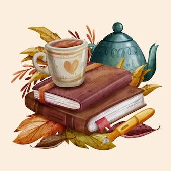本とマグカップと水彩の秋のイラスト