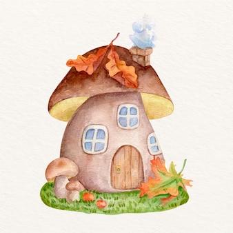 Акварельная осенняя иллюстрация с грибным домиком