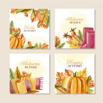 Watercolor autumn instagram posts