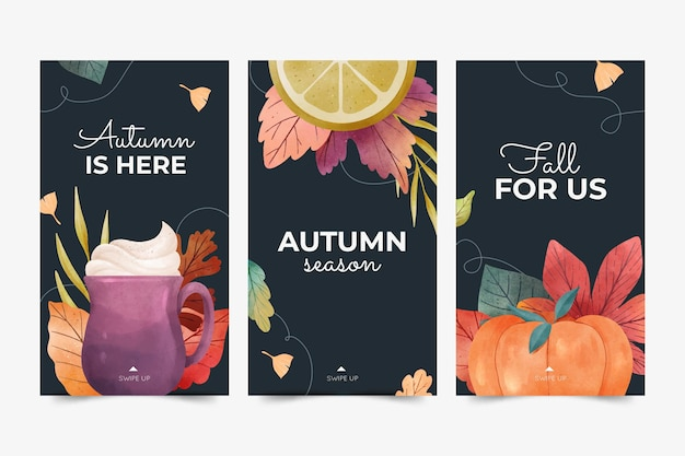 Watercolor autumn instagram stories collection