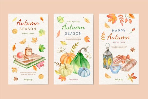水彩の秋のinstagramの物語のコレクション