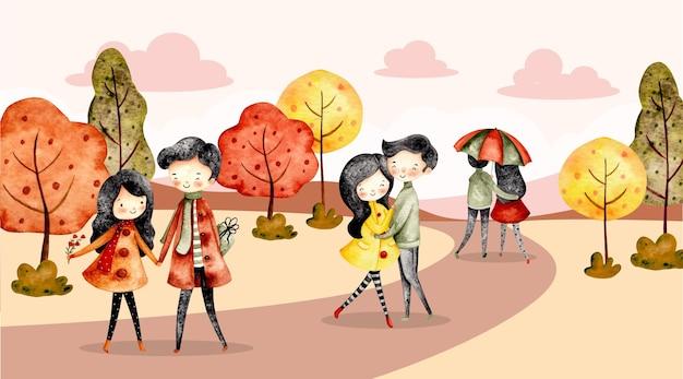 水彩の秋の風景とカップルのバナー