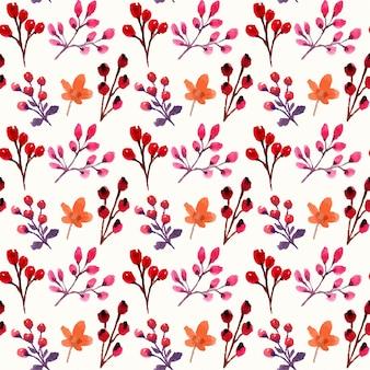 水彩の紅葉とベリーのシームレスなパターン