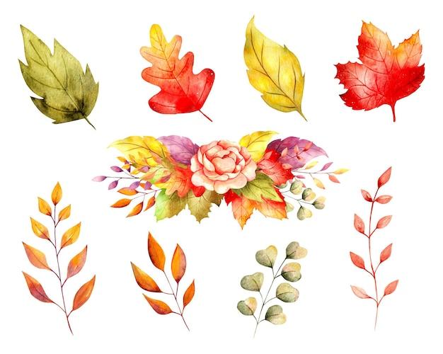 水彩の紅葉と花輪セット