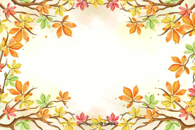 Watercolor autumn leaves background
