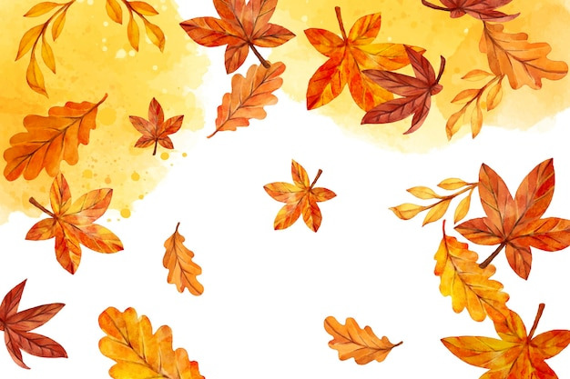 Foglie di autunno dell'acquerello che cadono