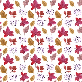 Watercolor autumn leaves seamless pattern