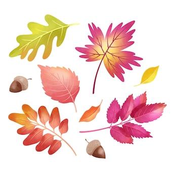 Акварельные осенние листья установлены