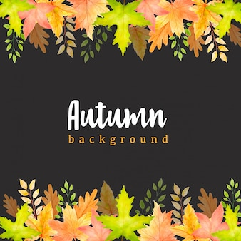 Watercolor autumn leaves template