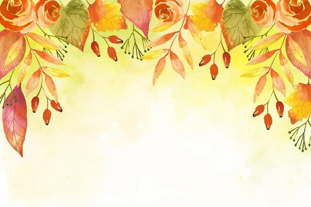 수채화 단풍 벽지