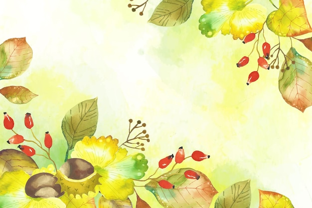Watercolor autumn leaves wallpaper