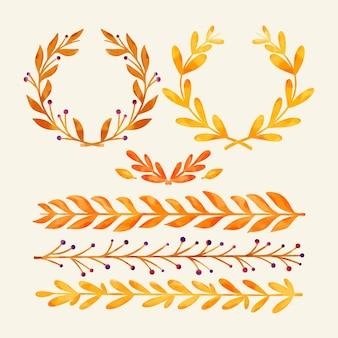 水彩の秋の装飾品コレクション