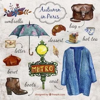 Watercolor autumn in paris
