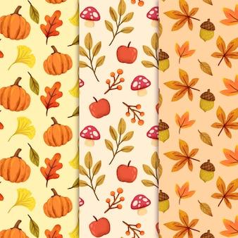 水彩の秋のパターンコレクション