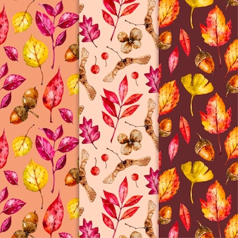 Watercolor autumn pattern collection