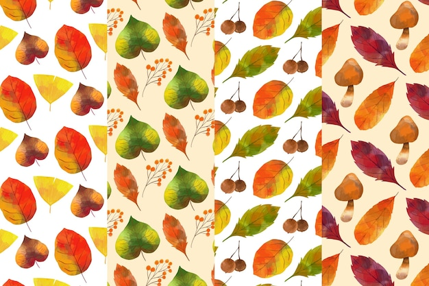 Watercolor autumn pattern pack
