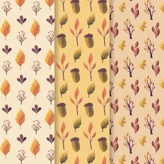 Watercolor autumn pattern set