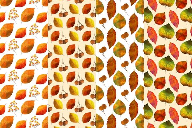 Watercolor autumn pattern set