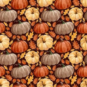 カボチャと葉の水彩画の秋のパターン